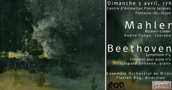 Concert des Musicales en Folies de Fontaine-lès-Dijon 2020, 5 avril 2020, Rückertlieder de Mahler, Concerto n°2 de Beethoven, Symphonie n°4 de Beethoven