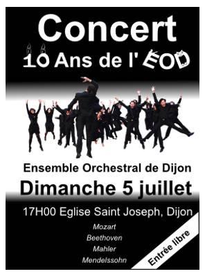 Affiche concert des 10 ans de l'ensemble orchestral