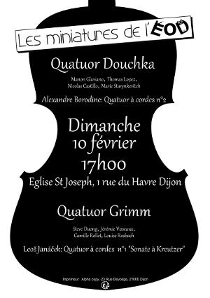Affiche du concert les miniatures de l'ensemble orchestral de Dijon, 10 février 2019