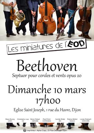Affiche du concert les miniatures de l'ensemble orchestral de Dijon, 10 mars 2019